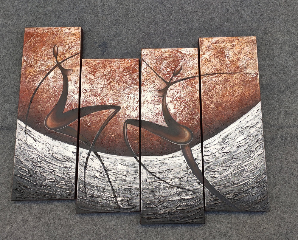 Multi Panel Canvas Art, Art On Canvas, Abstract Figure Painting, Hand Painted Acrylic Painting