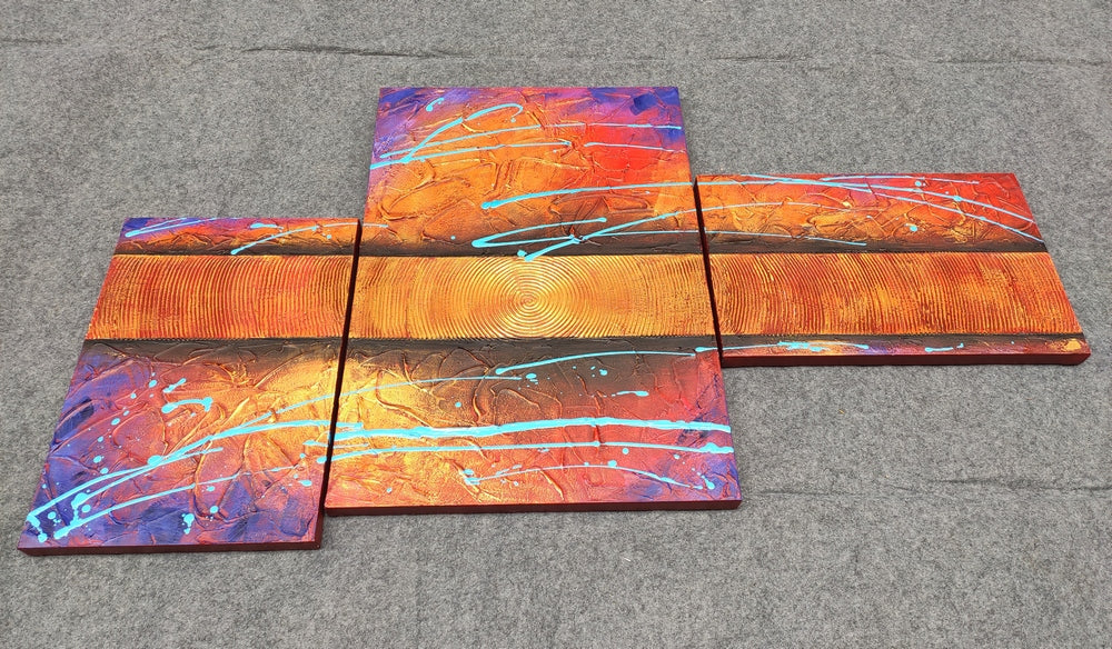 3 Piece Canvas Painting, Paintings for Living Room, Hand Painted Acrylic Paintings