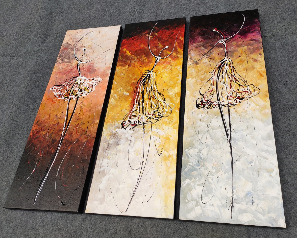 Ballet Dancers Painting, Hand Painted Art Painting, Abstract Acrylic Painting, 3 Piece Canvas Painting