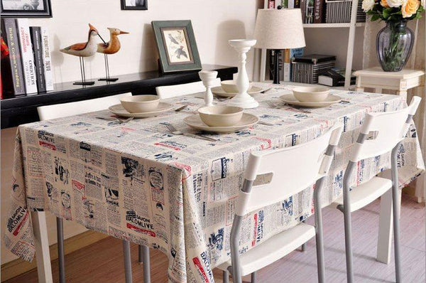 Newspaper Tablecloth, Blue NEWS LETTER Table Linen Wedding Home Decor Dining Kitchen Table Cloth