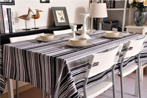 Black and White, Gray Stripe Sailcloth Tablecloth, Table Cloth, Dining Kitchen Table Cover