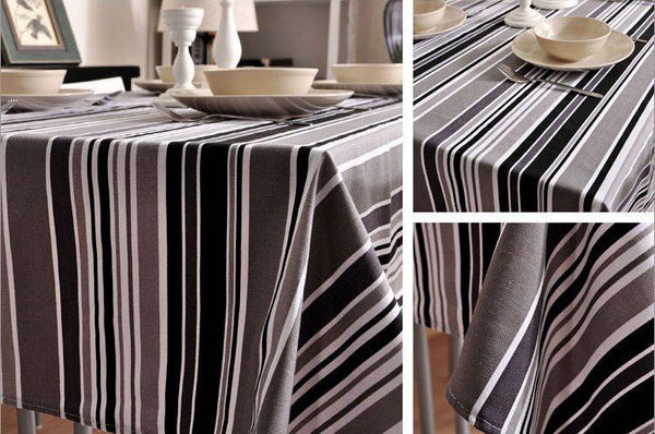 Black and White, Gray Stripe Sailcloth Tablecloth, Table Cloth, Dining Kitchen Table Cover - Art Painting Canvas