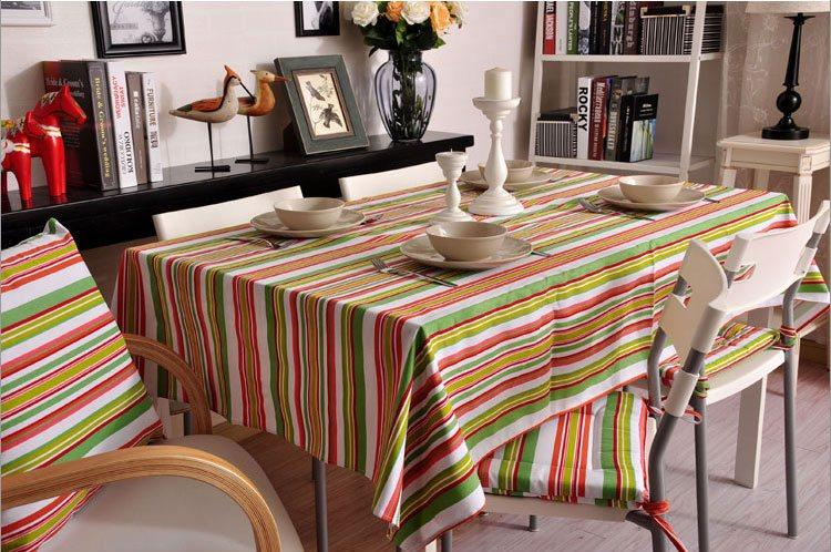 Spring Green Orange Stripe Sailcloth Tablecloth, Table Cloth, Dining Kitchen Table Cover