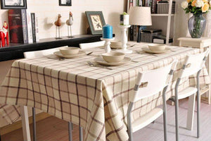 Beige Color Checkerboard Linen Tablecloth, Rustic Wedding , Checked Tablecloth, Table Cover