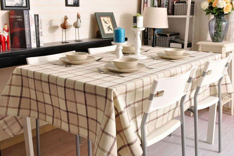 Beige Color Checkerboard Linen Tablecloth, Rustic Wedding , Checked Tablecloth, Table Cover - Art Painting Canvas