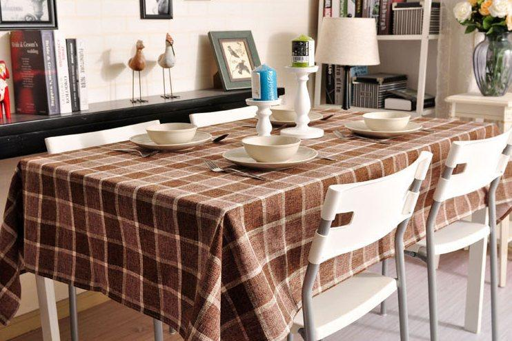 Brown Checked Linen Tablecloth, Rustic Wedding , Checkerboard Tablecloth, Table Cover
