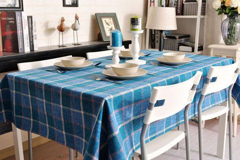 Blue Checked Linen Tablecloth, Rustic Home Decor , Checkerboard Tablecloth, Table Cover - Art Painting Canvas