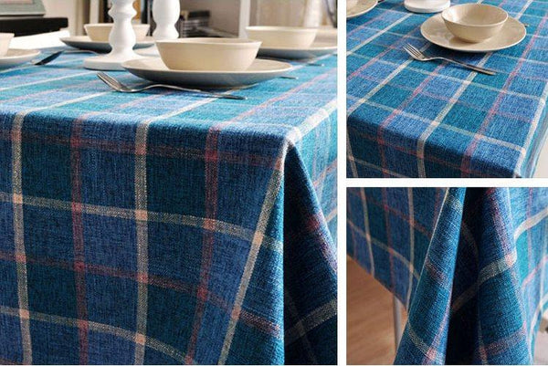 Blue Checked Linen Tablecloth, Rustic Home Decor , Checkerboard Tablecloth, Table Cover
