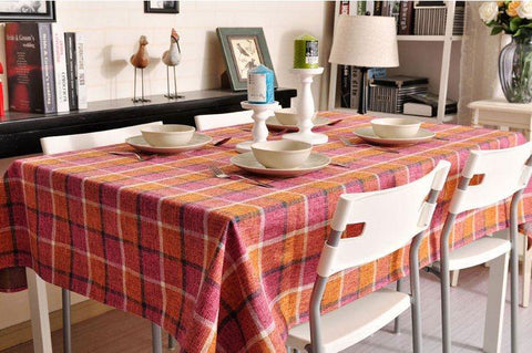 Roseo Checked Linen Tablecloth, Rustic Home Decor , Checkerboard Tablecloth, Table Cover