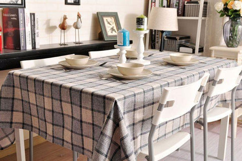 Gray Checked Linen Tablecloth, Checkerboard Tablecloth, Rustic Table Cover, Table Decor