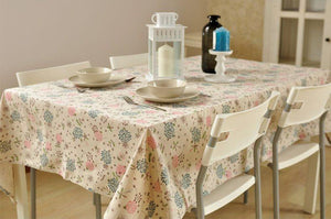 Kapok Flower Tablecloth, Large Flax Table Cloth, Linen Table Cover, Rustic Table Decor