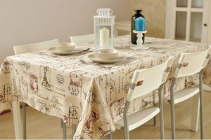 Postmark Pattern Tablecloth, Large Flax Table Cloth, Rustic Table Decor, Linen Table Cover