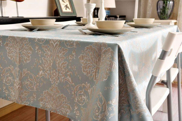 Jacquard Tablecloth, Large Flax Table Cloth, Luxury Table Decor, Linen Table Cover