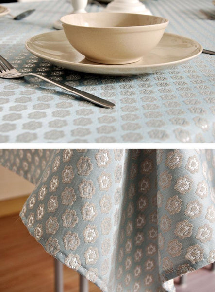 Luxury Table Decor, Jacquard Tablecloth, Large Flax Table Cloth, Linen Table Cover
