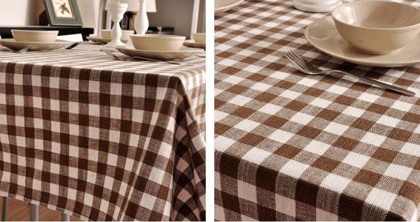 Brown Plaid Buffalo Check Tablecloth, Overlay Plaid Table cloth, Table Topper, Farmhouse Cottage Country Decor - Art Painting Canvas