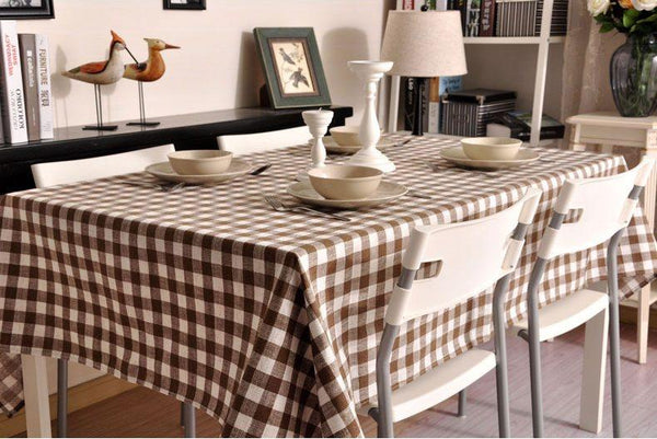 Brown Plaid Buffalo Check Tablecloth, Overlay Plaid Table cloth, Table Topper, Farmhouse Cottage Country Decor