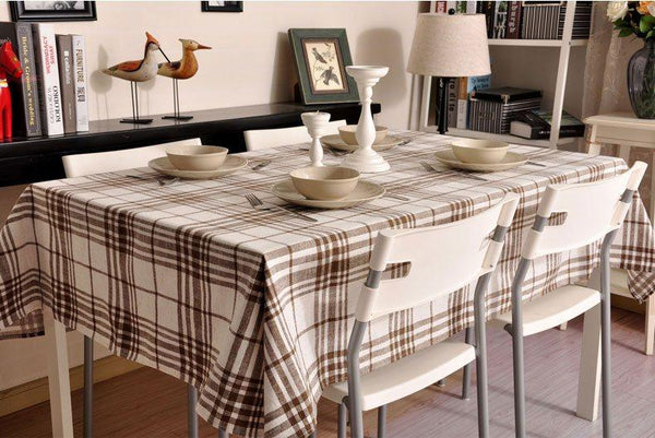 Brown Large Plaid Buffalo Check Tablecloth, Overlay Plaid Table Cloth, Table Topper, Rustic Home Decor