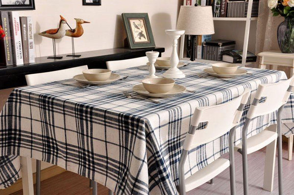 Blue Large Plaid Buffalo Check Tablecloth, Overlay Plaid Table Cloth, Table Topper, Rustic Home Decor - Art Painting Canvas