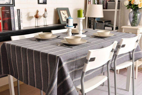 Dark Grey Stripe Linen Tablecloth, Rustic Table Cloth, Dining Kitchen Table Cover