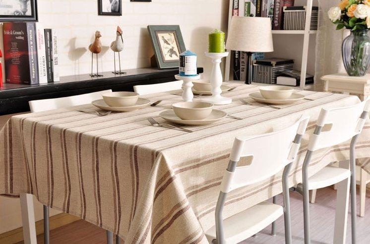 Cream Color Stripe Linen Tablecloth, Large Rectangle Table Cloth, Dining Kitchen Table Cover