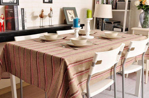 Khaki Stripe Linen Tablecloth, Large Rectangle Table Cloth, Dining Kitchen Table Cover