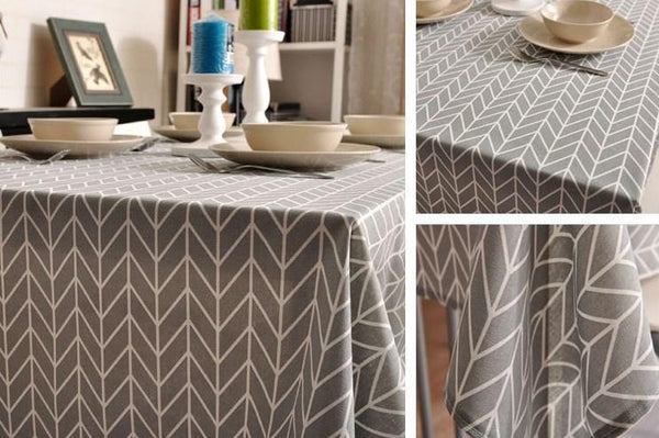 Arrow Pattern Fabric Table Cloth, Linen Cotton Fabric Table Cover, Tablecloth Fabric