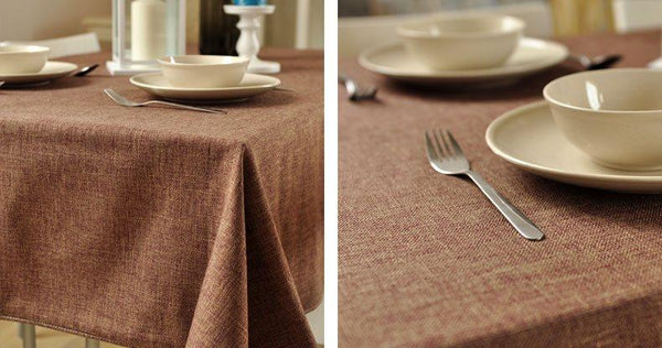 Brown Linen Tablecloth, Rustic Wedding, Handmade Tablecloth for Dining and Kitchen - Art Painting Canvas