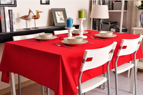 Red Tablecloth, Rustic Home Decor , Pure Cotton Tablecloth, Table Cover