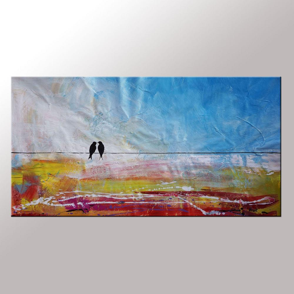 Abstract wall art contemporary painting modern art love birds painting art for
