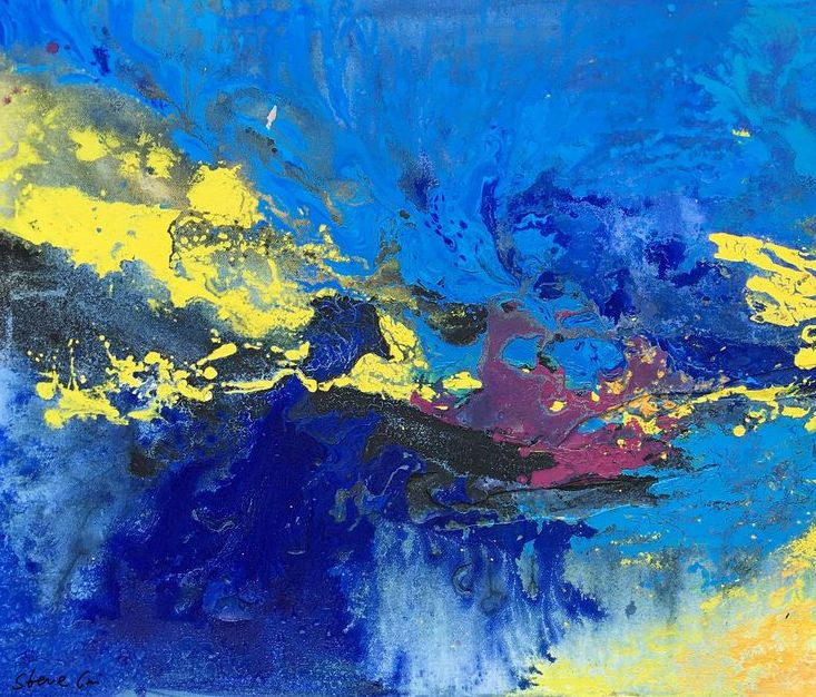abstract painting blue art textured oil painting abstract large