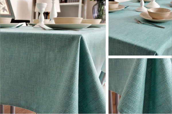 Light Blue Linen Tablecloth, Rustic Wedding, Handmade Tablecloth