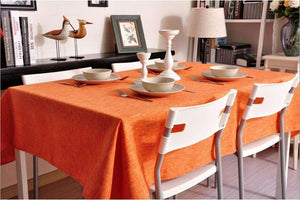 Orange Linen Tablecloth, Natural Rustic Wedding, , Handmade Tablecloth
