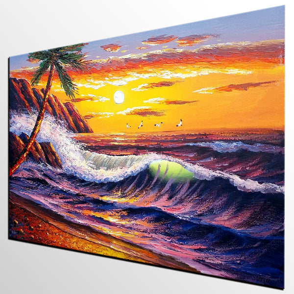 Beach Painting, Landscape Painting, Large Wall Art, Canvas Art, Large Art, Original Painting, Palm Tree, Sunrise Painting, Canvas Painting, Wall Art - Art Painting Canvas