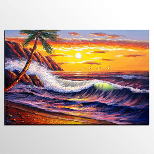 Beach Painting, Landscape Painting, Large Wall Art, Canvas Art, Large Art, Original Painting, Palm Tree, Sunrise Painting, Canvas Painting, Wall Art