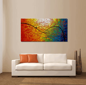 Living Room Wall Art, Modern Art, Original Artwork, Abstract Oil Painting, Abstract Canvas Art, Large Painting, Love Birds Painting, Abstract Art
