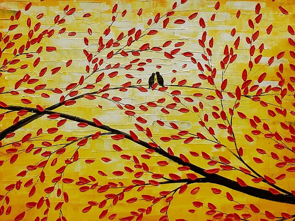 Acrylic Painting, Canvas Art, Wall Art, Tree Painting, Abstract Art, Love Birds Painting, Large Art, Painting, Canvas Painting, Wedding Gift