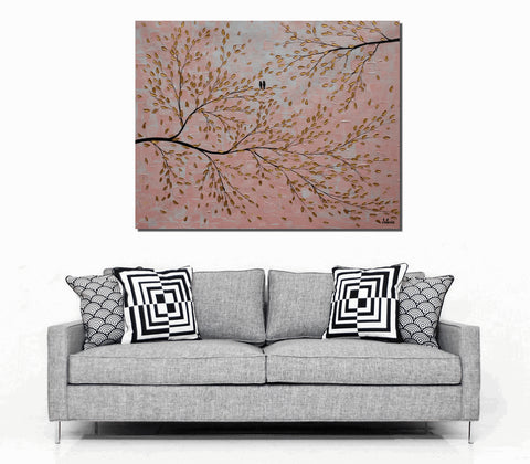 Acrylic Painting, Canvas Art, Wall Art, Tree Painting, Abstract Art, Love Birds Painting, Large Art, Painting, Canvas Painting, Wedding Gift - Art Painting Canvas