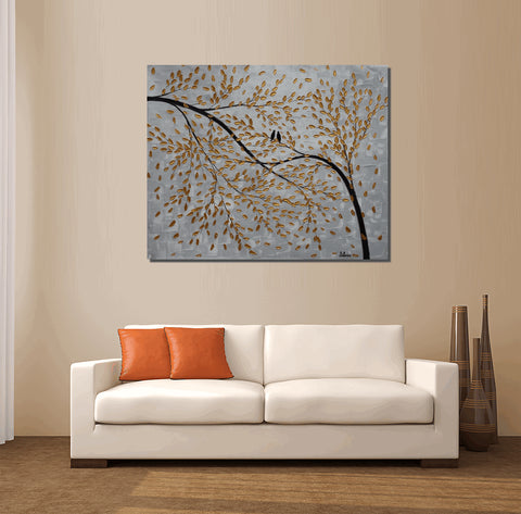 Acrylic Painting, Canvas Art, Wall Art, Tree Painting, Abstract Art, Love Birds Painting, Large Art, Painting, Canvas Painting, Wedding Gift, Silvia