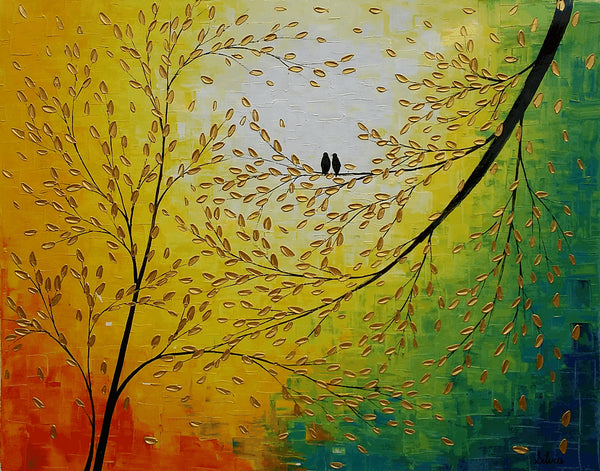 Canvas Art, Abstract Art, Love Birds Painting, Wedding Gift, Original Wall Art, Canvas Painting, Large Art, Oil Painting, Original Painting - Art Painting Canvas