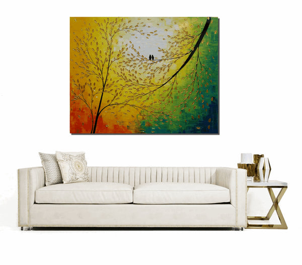 Canvas Art, Abstract Art, Love Birds Painting, Wedding Gift, Original Wall Art, Canvas Painting, Large Art, Oil Painting, Original Painting