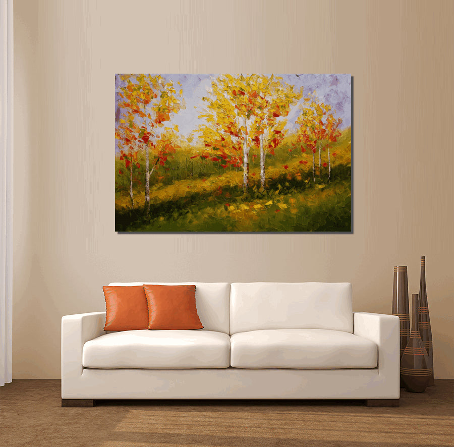 Landscape Painting, Birch Tree Painting, Extra Large Canvas Art, Oil Painting, Large Abstract Art, Canvas Painting, Living Room Oil Painting