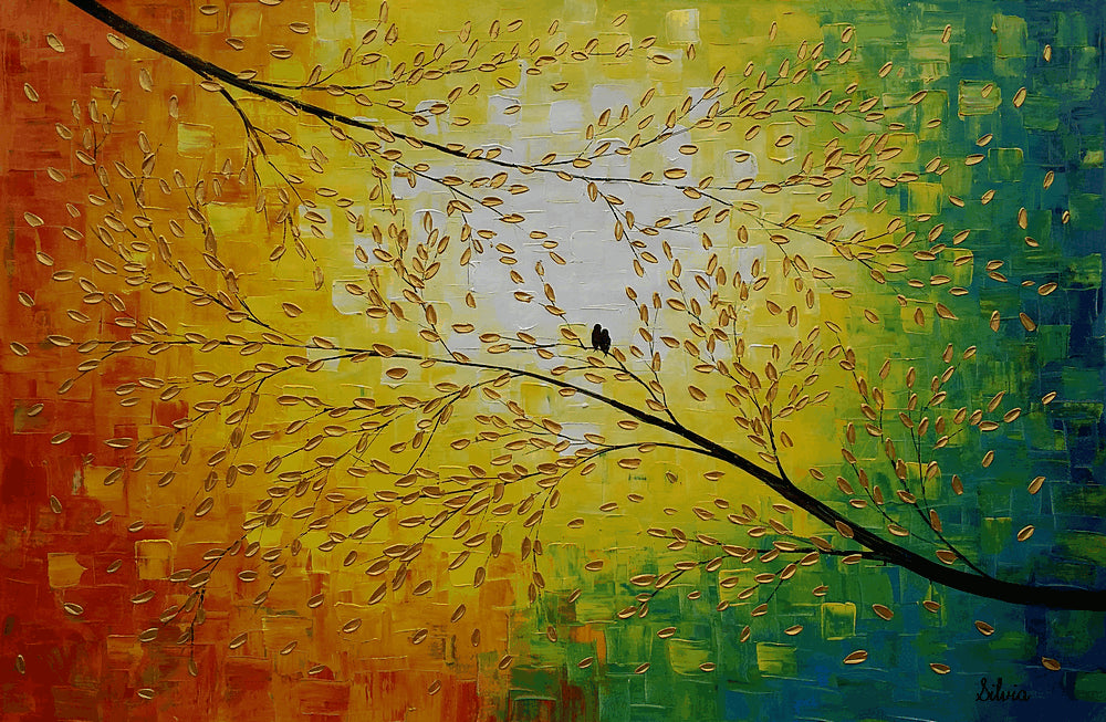 Abstract Painting Love Birds Painting Wedding Gift Abstract Art