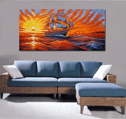 "Canvas Art, 24X48"" Oil Painting, Abstract Painting, Sunrise Painting, Abstract Art, Canvas Painting, Big Ship Painting, Original Art - Art Painting Canvas"