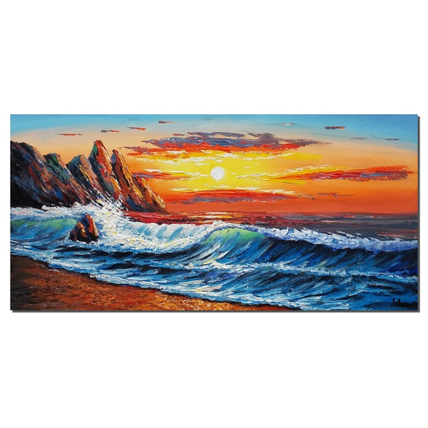 Canvas Painting, Wall Art, Original Painting, Landscape Painting, Large Art, Large Abstract Art, Canvas Painting, Sunrise Painting, Seascape - Art Painting Canvas