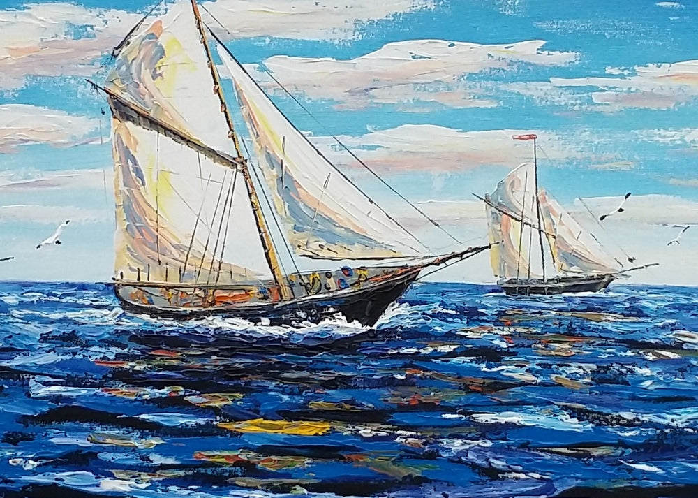 Large Painting Sailing Boat Painting Canvas Art Large