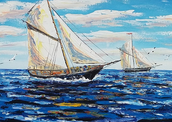 Large Painting, Sailing Boat Painting, Canvas Art, LARGE Art, Original Art, Contemporary Art, Abstract Art, Large Painting, Canvas Painting