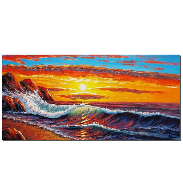 Large Painting, Sunrise Painting, Seascape Art, Canvas Art, LARGE Art, Original Art, Contemporary Art, Abstract Art, Large Painting, Canvas Painting