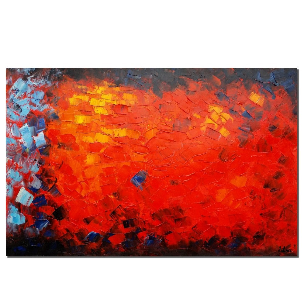 Red color painting landscape painting abstract painting canvas art original art