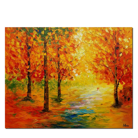 Autumn Tree, Landscape Painting, Abstract Art, Canvas Art, Abstract Painting, Canvas Art, Oil Painting, Wall Art, Canvas Painting, Large Art - Art Painting Canvas