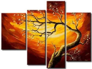 Tree of Life, 4 Piece Canvas Art, Abstract Art, Oil Painting for Sale, Bedroom Canvas Painting